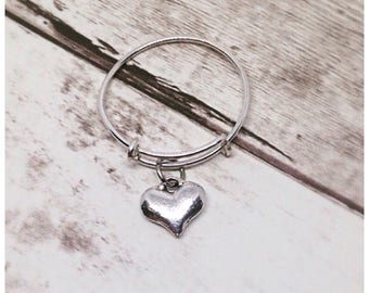 Heart Charm Ring, Charm Ring, Silver Ring, Stackable Ring, Adjustable Ring, Ella Rose, Heart Charm, Silver, Dangle Ring, Expandable Ring,