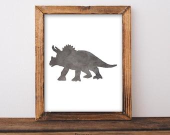 Dinosaur nursery print, triceratops, baby boy, baby shower, nursery decor, toddler decor, dinosaur decor, 8x10 Printable, Instant Download