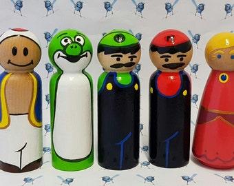 Wooden Peg Dolls - Super Mario Bros.
