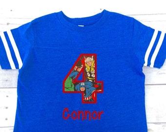 Boys superhero birthday shirt, superhero birthday shirt for boys, boys birthday shirt, spring or summer, superhero birthday party,
