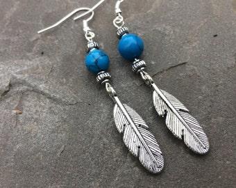 Genuine Turquoise Gemstone Boho Feather Earrings