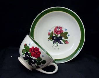 Blue Ridge Cup and Saucer BULLRUN ROSEBUD aka Rosebud Southern Potteries Dinnerware Red Rosebud Bouquet Purple Bow (B32) 9992