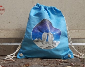 Penguin love - handpainted sports bags