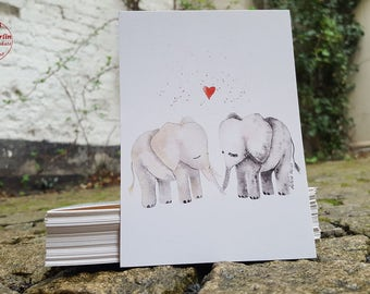 Postcard - elephant love - postcard A6