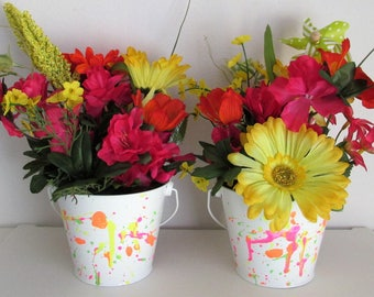 Set of 2 Hand-Painted Neon Color Splashed Floral Centerpiece Pails, featuring a Pinwheel Pick