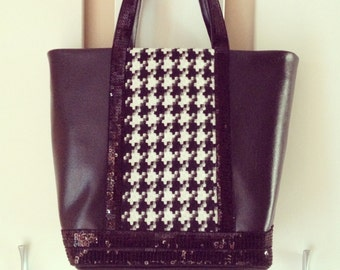Tote bi-material and sequins - CUSTOMIZABLE revisited from Vanessa Bruno's must-have!