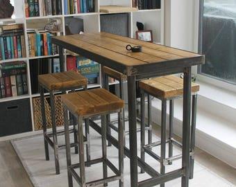 Hand Made Bespoke Modern Industrial Steel Dining Table Stools Poseur Urban Reclaimed Wood Metal Desk Rustic Breakfast Bar Cafe Restaurant