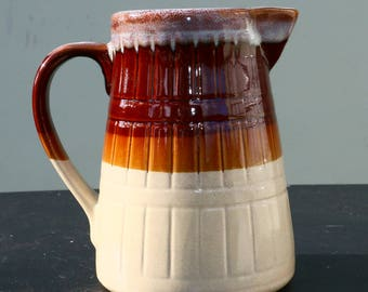 Vintge Stoneware hand thrown Country Style Pitcher