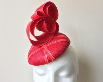 Red Hat, Red Races Hat, Wedding Hat, Red Wedding Hat, Wedding Fascinator, Red Melbourne Cup Hat, Red Breeders Cup Hat, Modern Hat