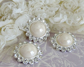 Shiny Ivory Pearl Buttons Silver Tone Metal Pearl Buttons W/ Surrounding Czech Glass Rhinestones Button Brooch Bouquet 26mm 3185SM 91 2
