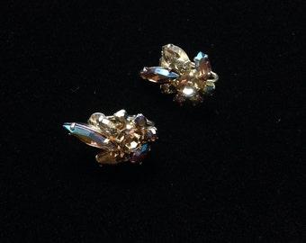 Vintage Sherman Clip On Earrings- Vintage Sherman Jewelry-  Rhinestone Clip On Earrings- Taupe Aurora Borealis Earrings
