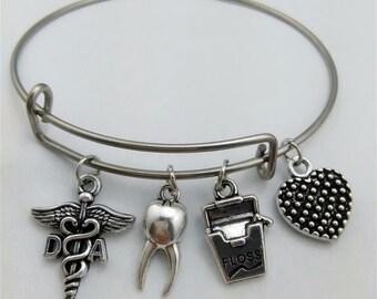 Dental Assistant Bracelet,Gift for Dental Assistant, Dental Bracelet, Dental Assistant, Bangle Bracelet, Custom Bracelet, Charms