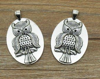 3 pcs Antique silver owl cabochon base Charm / accessory DIY 30*40 mm (507-7)