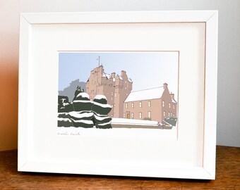 Crathes Castle Illustration, Crathes Castle, Scottish Castles, Castle, Aberdeen, Aberdeenshire Art, Scotland, Scottish Gift