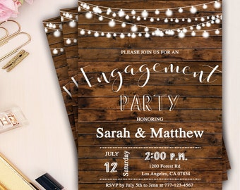 rustic engagement party invitation, country engagement party invitation, string lights engagement invites, wood engagement dinner invites