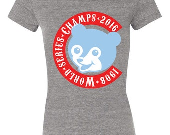 Chicago Cubs World Series Champions Cubby Bear Vintage T-shirt *LTD QTY AVAIL* Baseball, Ladies, Gray, Tri-blend, tee, fitted