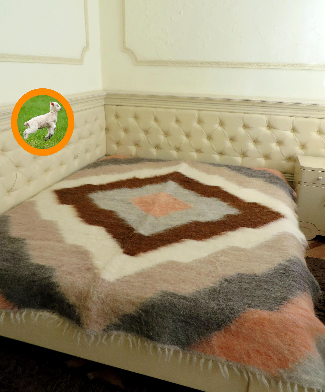 Throw Wool BlanketKing Woven CoverletSofa CoverOrganic