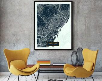 BARCELONA Spain CANVAS Large Art City Map Barcelona Spain Art Print poster map art jt Wall Art Home Decor JackTravelMap