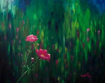 Floral Meadow Large Original Painting, Modern Art Canvas, Original Acrylic Painting, Wall Art Decor, Green, Pink