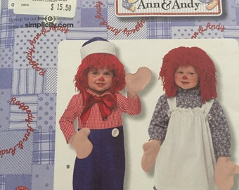 Raggedy Anne and Andy Simplicity no. 2784 Costumes for Toddlers Size 1/2, 1 & 2 Sewing Pattern - Uncut