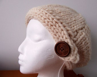 Cream Slouchy Beret with Wood Button