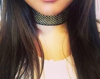 Crochet Black and Gold Collar Choker