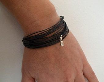 Women's bracelet, Sterling bracelet, Boho Bracelet, Linen Bracelet, Natural Cord Jewelry, Minimalist Jewelry, Linen Cord Bracelet,