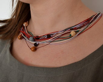 Multicolor Necklace,Linen Jewelry, Eco Style Jewelry, Multistrand Linen, Birthday, Gift for Her,Linen Cord, Natural Necklace, Wooden Beads