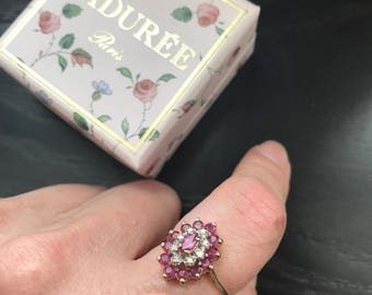 9 carat marquise ruby and diamond ring