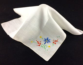 Vintage 1940s White Cotton Handkerchief, Blue Embroidered Wildflowers - Wedding Handkerchief - Bridal Hanky - Estate Accessory