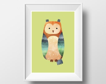 "POSTER. Printable A3 Green Poster ""Owl"" for Children Rooms. Instant download PDF."
