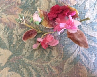 Antique Millinery Flowers and Leaves, Velvet, Organza, Pink Ombré Shades