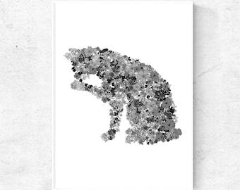 Cat print, grey wall art print, digital art print, printable artwork, large wall art 24x36 print, 18x24, downloadable prints , nordic print