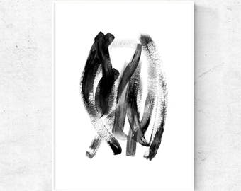 Abstract black and white painting, printable painting, contemporary wall art, instant download art, modern abstract digital print, 24x36