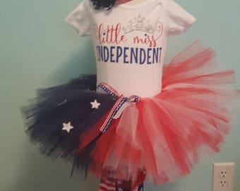Little miss independent tutu set for 4th of July