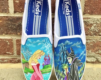 Disney sleeping beauty painted shoes - disney painted shoes
