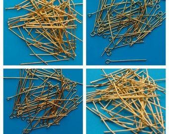 50X Head Pins Eye Pins gold plated Headpins eyepins Findings 30mm 40mm Jewellery Making diy Jewelry 3cm 4cm Earrings Necklace UK