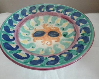 Artistic plate, hand-painted ceramics, pottery, old plate.