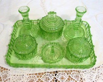 Green Glass 7-Piece Dressing Table set from the 1940s - COMPLETE! - Vintage Pale Green Pressed Glass
