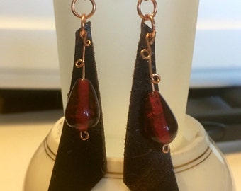 Leather Earrings Glass Bead