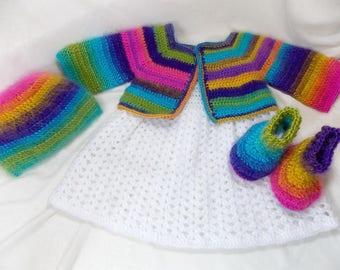 Rainbow dress, Rainbow costume, crochet set for baby girls, girls'clothing,gift for the baby girl