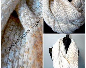 2 Available. INFINITY SCARF.Cirlce Scarf.Tube Scarf.Cream.Metallic Gold.Winter.Fall.Soft.Scarves.Gift for Her.Daughter.Sister.Friend. SC0087