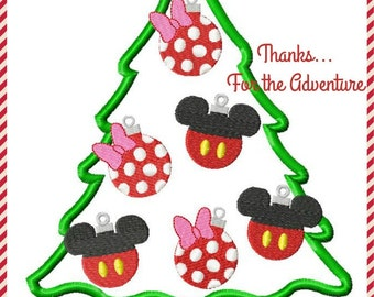 Mickey and Minnie Mouse Christmas Tree Ornament Digital Embroidery Machine Applique Design File 5x7 6x10 8x12