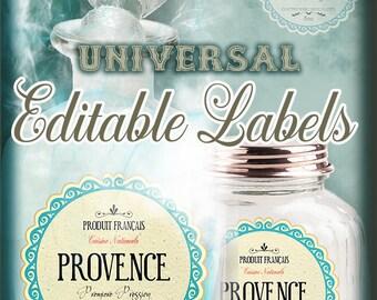 """Editable Labels,Universal PDF Bottle-Jars Edit Labels,Size 2.5"""", Digital File,Instant Download"""
