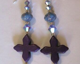 Purple Geometry - earrings - purple - sterling silver - Swarovksi crystal