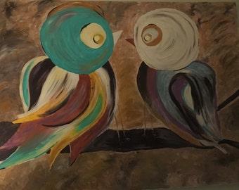 Original Acrylic Bird  Painting 48 x 36 'You Will Love Again'