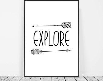 Kids Playroom Print, Boho Arrow Art, Kids Art Printable, Black and White Kids Room Art, Kid Arrow Wall Art Print, Explore Nursery Decor