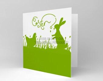 Easter Card / Bunny Card / Chicks / Green Silhouette / Spring / Blank Card CS328