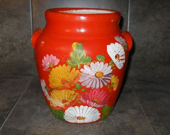Vintage Ransburg Shabby Chic Hand Painted Floral Ceramic Crock Indianapolis