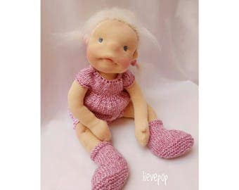 Waldorf style pop, about 40 cm. Waldorf style doll, about 40 cm.